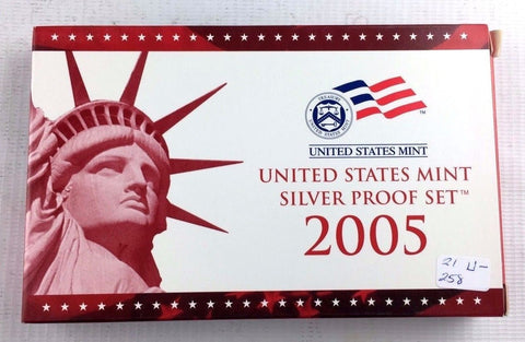 2005-S Proof Set Silver 10 Piece United States Proof Set 90% Original Box & COA