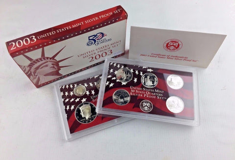 2003-S Proof Set Silver 10 Piece United States Proof Set 90% Original Box & COA