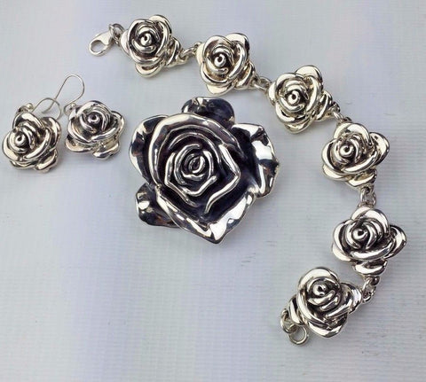 Sterling Silver Rose Bracelet Earring and Brooch Set - Bright Finish Nice Design