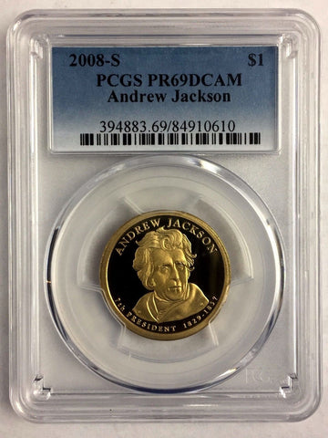 2008-S $1 Andrew Jackson Proof Presidential Dollar PCGS PR69DCAM 2+ = Free Ship*