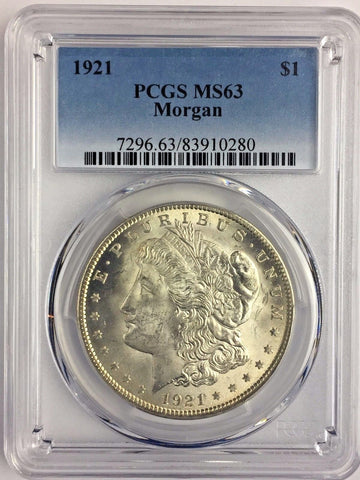 1921 $1 Morgan Silver Dollar PCGS MS63 - Bright White Uncirculated Coin