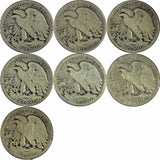 1917-1923 50c Walking Liberty Silver Half Dollar (LOT OF SEVEN (7) COINS) 9-73LO