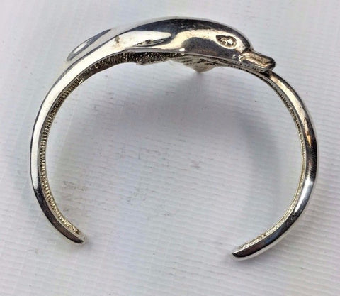 Sterling Silver Dolphin Bangle / Bracelet - Mexico Made TN-50 - Marked .925
