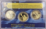 2010 $1 Franklin Pierce 3 Coin Collector Set - BU Strike P & D Mints + Proof