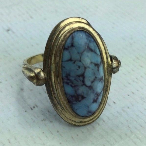Ring - Size 7 - With Stone - Antique / Vintage Gold Layered Fashion Piece 4g