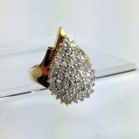 Gold Gilted Sterling Silver & DIAMOND Ring - Approx 1/2 cttw Diamonds - Size 7