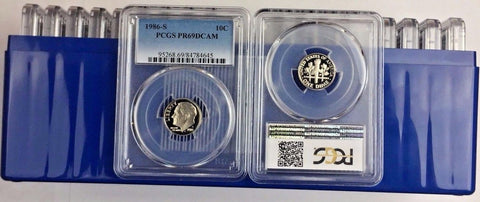 1986-S 10C DC (Proof) Roosevelt Dime PCGS PR69DCAM LOT OF 20 -All are certified