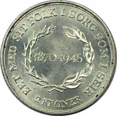 1945 NIS Denmark Silver 2 Kroner Collectible Coin - Brilliant Uncirculated BU+