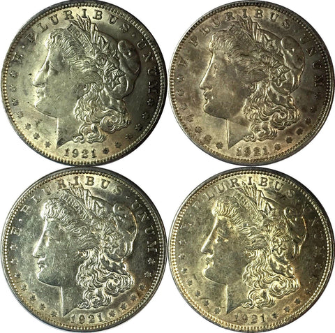 1921 $1 Morgan Silver Dollar Set (LOT OF FOUR (4) COINS) - AU/UNC grades 72752OC