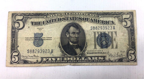 1934 D $5 Silver Certificate - Post Depression Era Currency - Fine + 1111-140