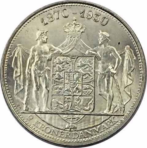 1930 N AH/HS Denmark Silver 2 Kroner Collectible Coin Brilliant Uncirculated BU+