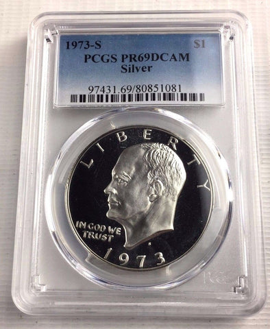 1973-S Eisenhower Silver $1 Dollar - PCGS PR69DCAM - Key Date Of Entire Series