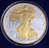 2007 1 oz Silver American Eagle Brilliant Uncirculated GOLD GILTED with Box