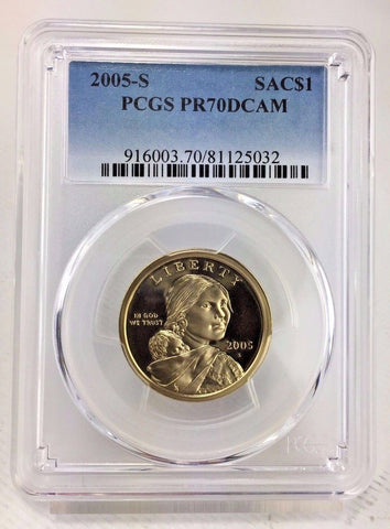 2005-S SAC$1 DC (Proof) Sacagawea Dollar PCGS PR70DCAM - Perfectly Graded Coin