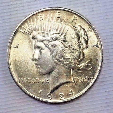 1924 $1 Peace Silver Dollar - High Grade UNC Liberty One Dollar Coin 1115-241