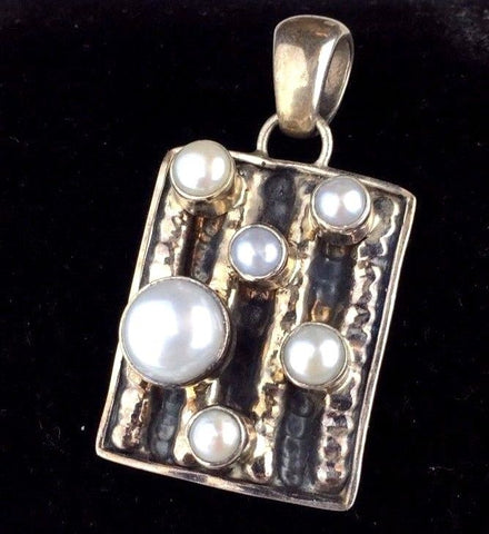 Sterling Silver Pendant - Handmade with Pearls - Hallmarked Arya- .925   A14PC