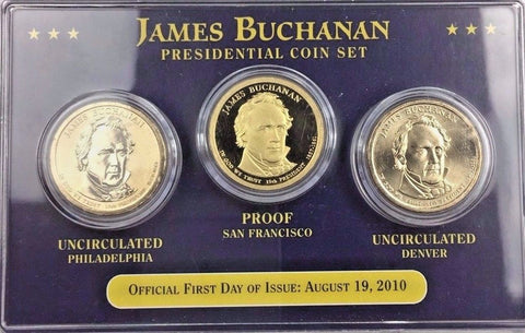 2010 $1 James Buchanan Dollar 3 Coin Type Set - Proof and Both BU Mints P D & S