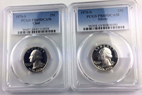 TWO COIN SET - 1976-S 25C Washington Proof Quarter PCGS PR69DCAM - Drummer Boy