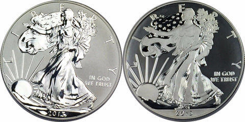 2013 Enhanced Proof and Reverse Proof American Silver Eagle Set - Coins Only MZ