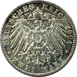 German States Bavaria 2 Mark, 1904 D - Very Fine