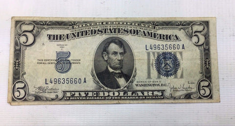 1953 $5 Silver Certificate Note - Average Circulated Condition - Abraham Lincoln
