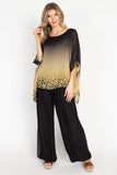 Tesoro Moda, Style 1688-D Top Animal Print, Black