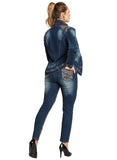 TESORO MODA-DENIM  Style 20012, DK. BLUE, 2 Pc. Jacket & Pant Set