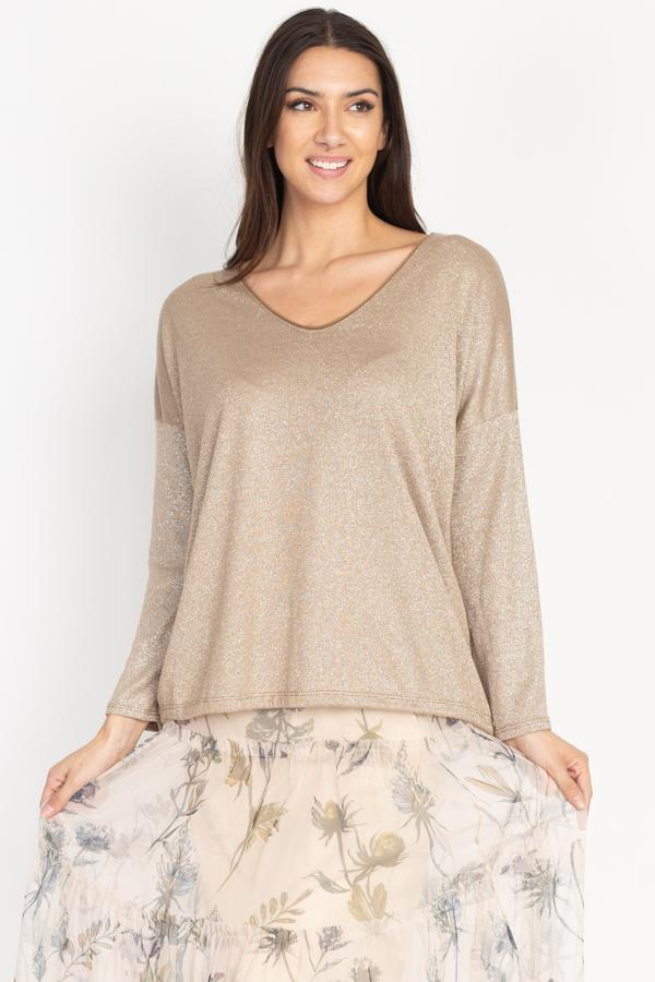 Tesoro Moda, Style 1731-18672 Sweater V-neck, Gold