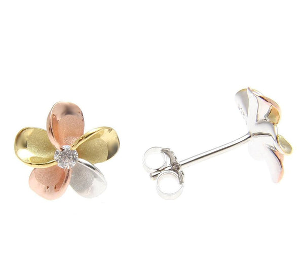 YELLOW ROSE GOLD SILVER 925 TRICOLOR HAWAIIAN PLUMERIA STUD EARRINGS CZ 8MM-18MM (PE-52)