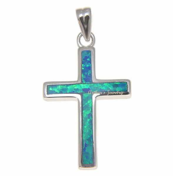 INLAY BLUE OPAL CROSS CHARM PENDANT SOLID 925 STERLING SILVER 16.30MM (CJ-13)
