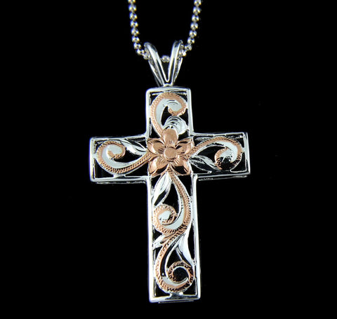 925 STERLING SILVER 2 TONE PINK HAWAIIAN PLUMERIA FLOWER SCROLL CROSS PENDANT (CJ-14)