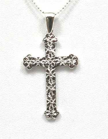 22MM SILVER 925 HAWAIIAN PLUMERIA FLOWER CROSS PENDANT (CJ-16)