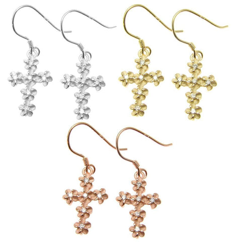 YELLOW ROSE GOLD PLATED RHODIUM SILVER 925 HAWAIIAN PLUMERIA CROSS HOOK EARRINGS (CJ-21)