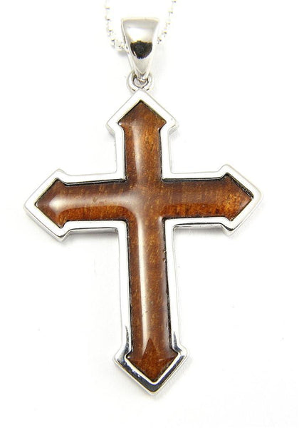 GENUINE INLAY HAWAIIAN KOA WOOD CROSS PENDANT 29MM STERLING SILVER 925 (CJ-31)