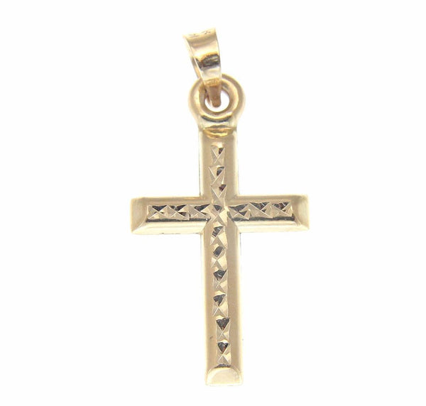SOLID 14K YELLOW GOLD REVERSIBLE 2 SIDED DIAMOND CUT CROSS PENDANT SMALL 12MM (CJ-32)