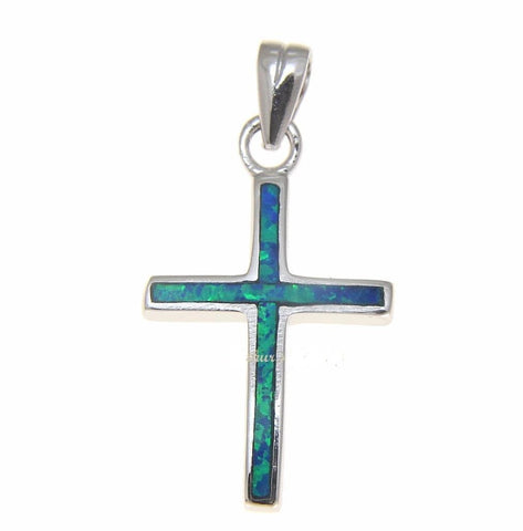 INLAY BLUE OPAL CROSS CHARM PENDANT SOLID 925 STERLING SILVER 14.30MM (CJ-9)