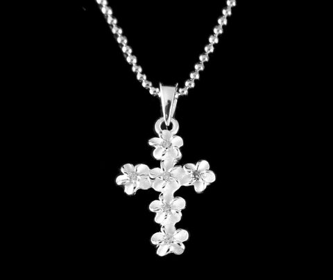 STERLING SILVER 925 HAWAIIAN PLUMERIA FLOWER CROSS PENDANT CLEAR CZ 11MM SMALL (CJ-1)