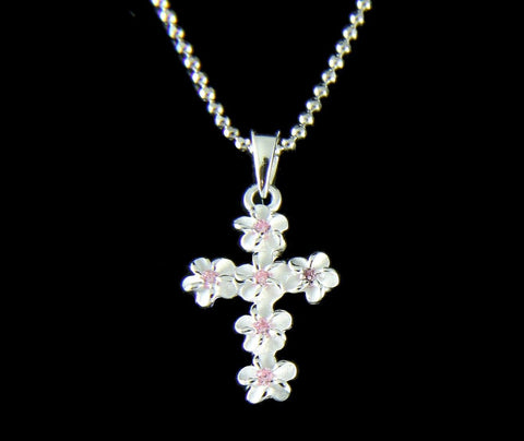 STERLING SILVER 925 HAWAIIAN PLUMERIA FLOWER CROSS PENDANT PINK CZ 11MM SMALL (CJ-2)