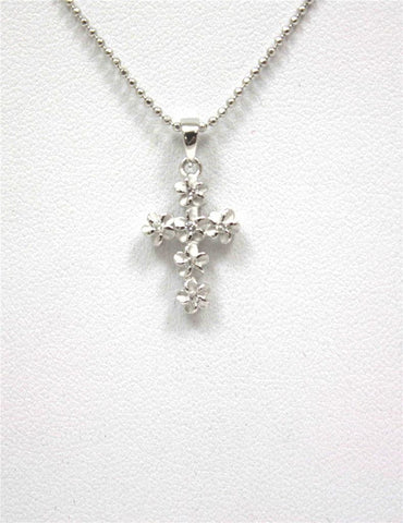 SILVER 925 HAWAIIAN PLUMERIA FLOWER CROSS PENDANT CZ 11MM RHODIUM SMALL (CJ-5)