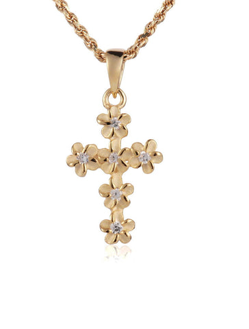 YELLOW SILVER 925 HAWAIIAN PLUMERIA FLOWER CROSS PENDANT CZ 11MM SMALL (CJ-6)