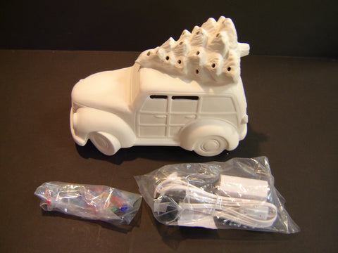 "Unpainted ""Woody Wagon"" with tree and light kit (Ceramic-02)"