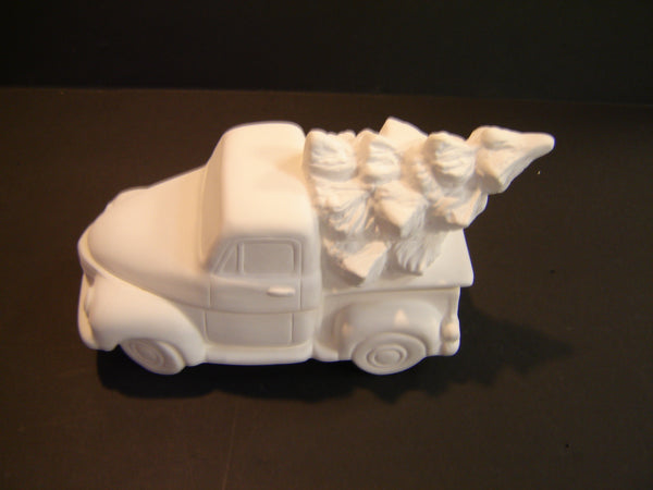 Unpainted Ceramic Truck with Tree Box (Ceramic-04)