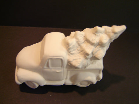 Unpainted Small Ceramic truck with tree (Ceramic-05)