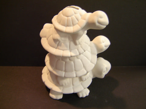 Unpainted Ceramic Stack of 3 Turtles Bank (Ceramic-07)