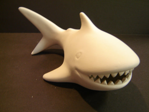 Unpainted Ceramic Shark Bank (Ceramic-08)