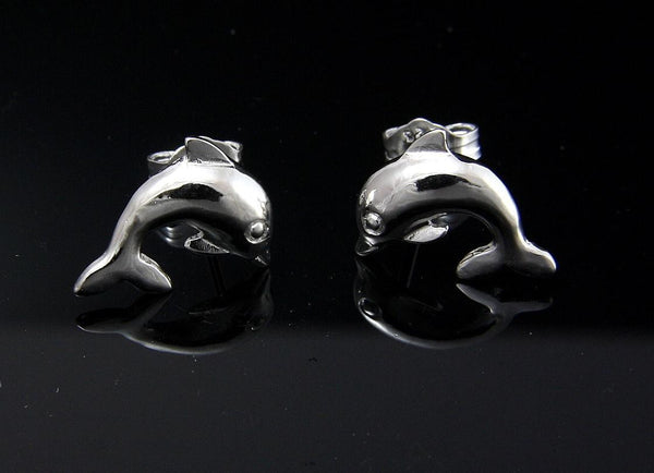 STERLING SILVER 925 HAWAIIAN HIGH POLISH SHINY DOLPHIN STUD POST EARRINGS 13MM (DJ-3)