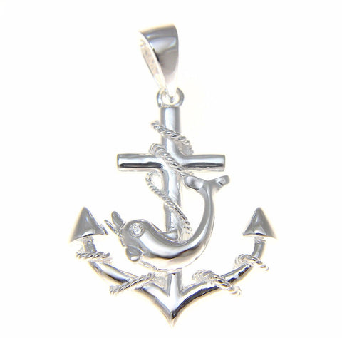 STERLING SILVER 925 ANCHOR OF HOPE WITH DOLPHIN HAWAIIAN PENDANT (DJ-16)
