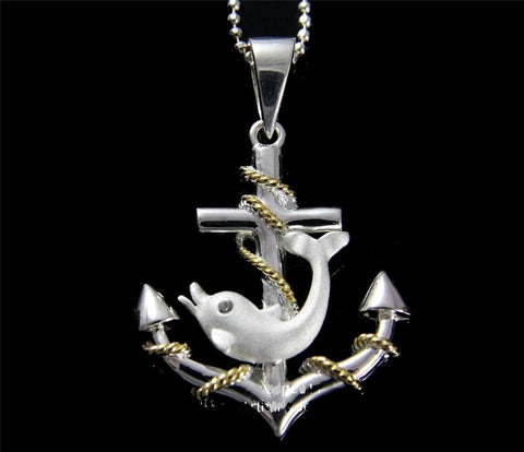STERLING SILVER 925 ANCHOR OF HOPE DOLPHIN HAWAIIAN PENDANT YELLOW GOLD 2 TONE (DJ-17)