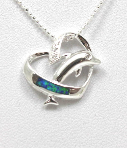 INLAY OPAL STERLING SILVER 925 HAWAIIAN DOLPHIN JUMPING THRU HEART PENDANT CZ (DJ-35)