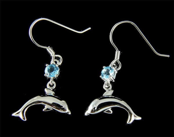 GENUINE BLUE TOPAZ SILVER 925 HAWAIIAN DOLPHIN WIRE HOOK EARRINGS RHODIUM (DJ-44)